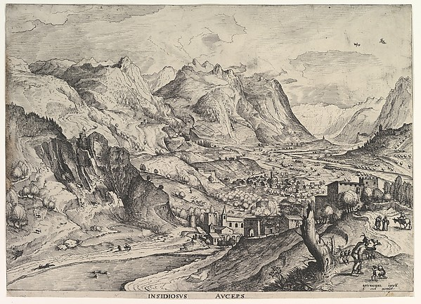 The Crafty Bird-Catcher (Insidiosus auceps) from The Large Landscapes, Johannes van Doetecum the elder (Netherlandish, active 1554–ca. 1600, died 1605), Etching and engraving
