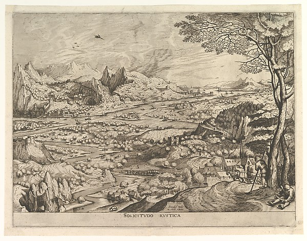 Rustic Solicitude (Solicitudo rustica) from The Large Landscapes, Johannes van Doetecum the elder (Netherlandish, active 1554–ca. 1600, died 1605), Etching and engraving; first state of two