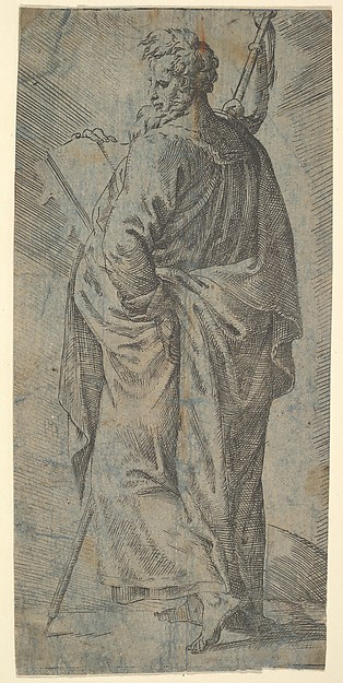 Male Saint, Anonymous, Italian, 16th century, Etching on paper colored in blue