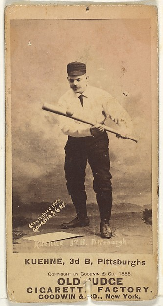 Bill Kuehne, 3rd Base, Pittsburgh, from the Old Judge series (N172) for Old Judge Cigarettes, Issued by Goodwin & Company, Albumen photograph