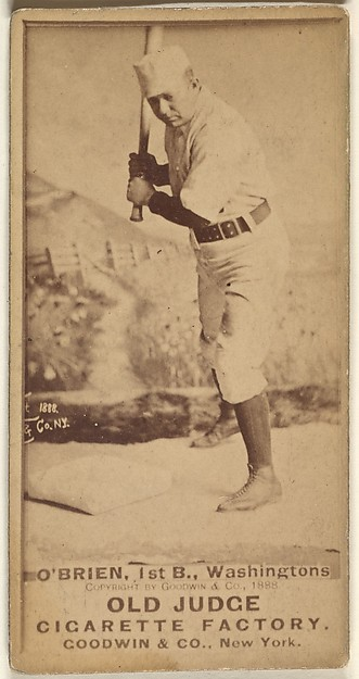 """William Smith """"Billy"""" O'Brien, 1st Base, Washington Nationals, from the Old Judge series (N172) for Old Judge Cigarettes, Issued by Goodwin & Company, Albumen photograph"""