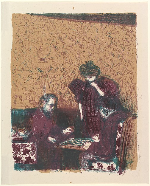 The Game of Checkers, from the series Landscapes and Interiors, Édouard Vuillard (French, Cuiseaux 1868–1940 La Baule), Lithograph; third state of three