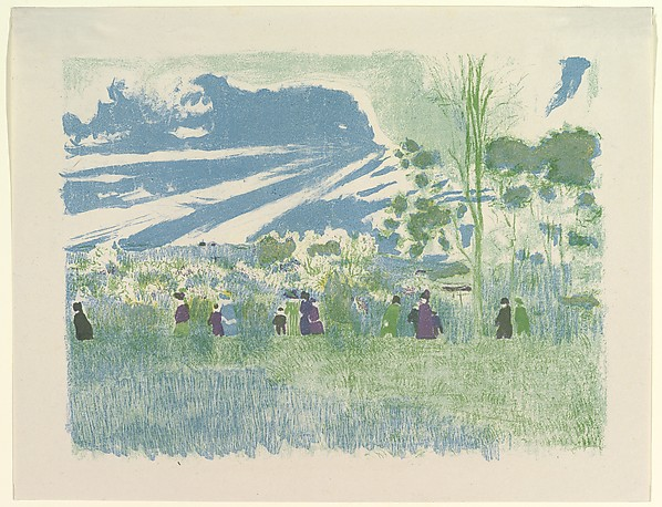 À Travers Champs (Across the Fields), from the series Landscapes and Interiors, Édouard Vuillard (French, Cuiseaux 1868–1940 La Baule), Lithograph printed in color; third state of three