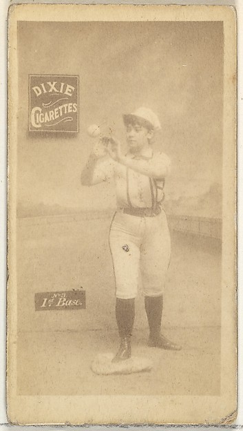 1st Base, from the Girl Baseball Players series (N48, Type 2) for Dixie Cigarettes, Issued by Allen & Ginter (American, Richmond, Virginia), Albumen photograph