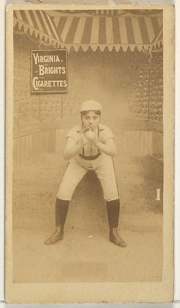 Card 1, from the Girl Baseball Players series (N48, Type 2) for Virginia Brights Cigarettes, Issued by Allen & Ginter (American, Richmond, Virginia), Albumen photograph