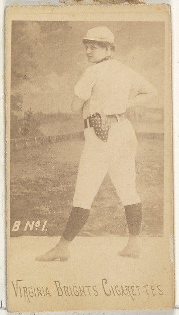 Card 1, from the Girl Baseball Players series (N48, Type 1) for Virginia Brights Cigarettes, Issued by Allen & Ginter (American, Richmond, Virginia), Albumen photograph