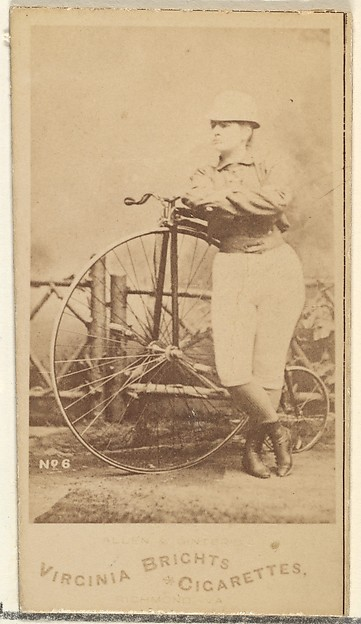 Card 6, from the Girl Cyclists series (N49) for Virginia Brights Cigarettes, Issued by Allen & Ginter (American, Richmond, Virginia), Albumen photograph