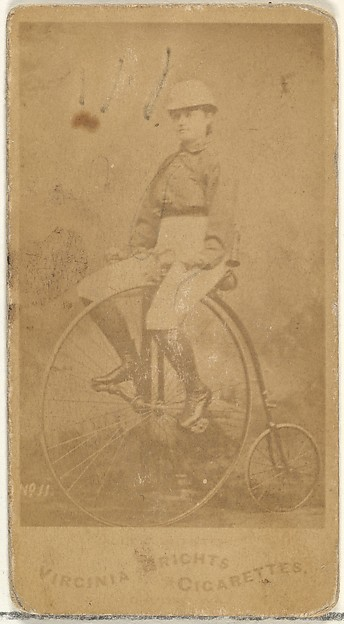 Card 11, from the Girl Cyclists series (N49) for Virginia Brights Cigarettes, Issued by Allen & Ginter (American, Richmond, Virginia), Albumen photograph