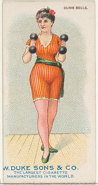 Dumb Bells, from the Gymnastic Exercises series (N77) for Duke brand cigarettes, Issued by W. Duke, Sons & Co. (New York and Durham, N.C.), Commercial color lithograph