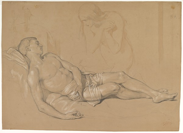 A Nude Woman Kneeling at the side of a Reclining Man (Study for Mary Magdalen Lamenting Christ), Julius Hübner (German, Oels in Scchlesien 1806–1882 Loschwitz), Graphite, brush and brown wash, heightened with white chalk.