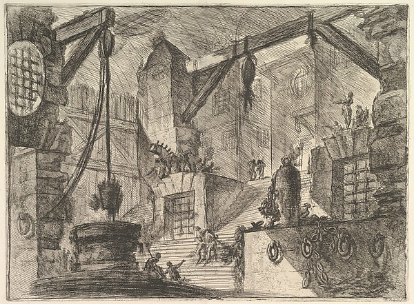 The Well, from Carceri d'invenzione (Imaginary Prisons), Giovanni Battista Piranesi (Italian, Mogliano Veneto 1720–1778 Rome), Etching, engraving, scratching, burnishing, lavis; first state of six (Robison)
