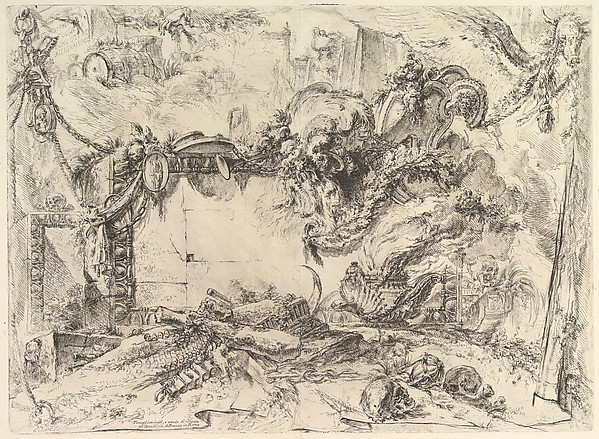 The Monumental Tablet, from Grotteschi (Grotesques), Giovanni Battista Piranesi (Italian, Mogliano Veneto 1720–1778 Rome), Etching, engraving, drypoint, scratching; second state of four (Robison)