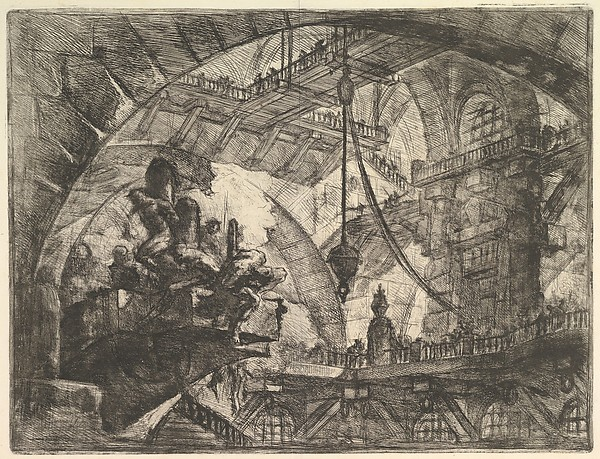 Prisoners on a Projecting Platform, from Carceri d'invenzione (Imaginary Prisons), Giovanni Battista Piranesi (Italian, Mogliano Veneto 1720–1778 Rome), Etching, engraving, sulphur tint or open bite, burnishing; first state of four (Robison)