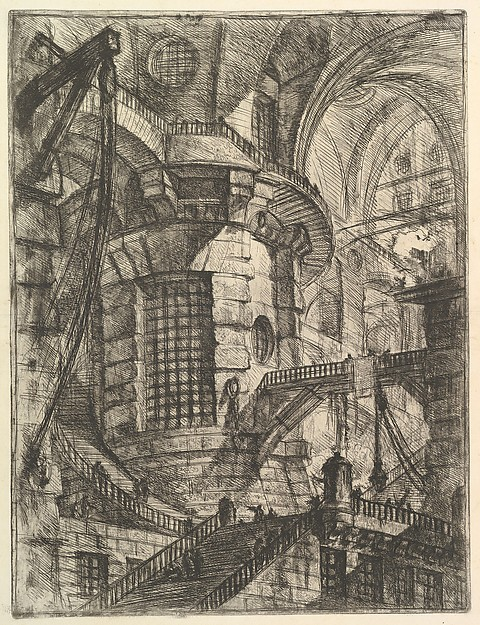 The Round Tower, from 'Carceri d'invenzione' (Imaginary Prisons), Giovanni Battista Piranesi (Italian, Mogliano Veneto 1720–1778 Rome), Etching, engraving, sulphur tint or open bite, burnishing; first state of four (Robison)