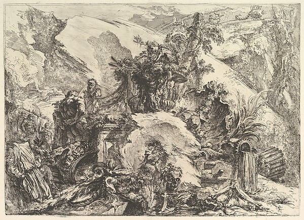 The Skeletons, from Grotteschi (Grotesques), Giovanni Battista Piranesi (Italian, Mogliano Veneto 1720–1778 Rome), Etching with engraving, drypoint, and burnishing; second state of five (Robison)