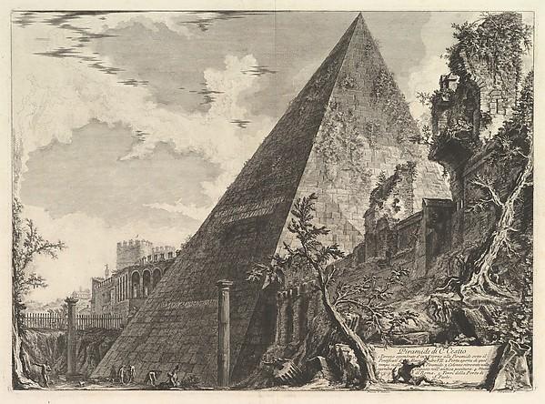 The Pyramid of Gaius Cestius, from Vedute di Roma (Roman Views), Giovanni Battista Piranesi (Italian, Mogliano Veneto 1720–1778 Rome), Etching; first state of three (Hind)