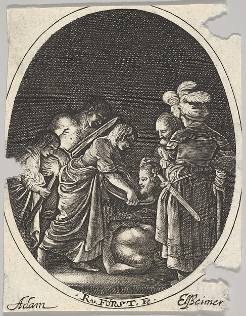 Salome receiving the head of John the Baptist, surrounded by three men and a child bearing a torch, the Baptist's body lies on the ground, an oval composition, After Hendrick Goudt (Dutch, The Hague 1583–1648 Utrecht), Engraving