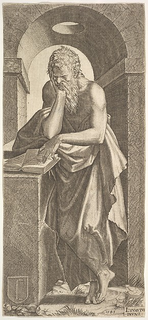 St. Simon standing before an open book with the fingers of his left hand pressed onto the pages, his chin resting in his right hand, a shallow barrel vault with oculus beyond, from a series of full-length figures of Christ and the Twelve Apostles, Lambert Suavius (Netherlandish, ca. 1510–by 1576), Engraving
