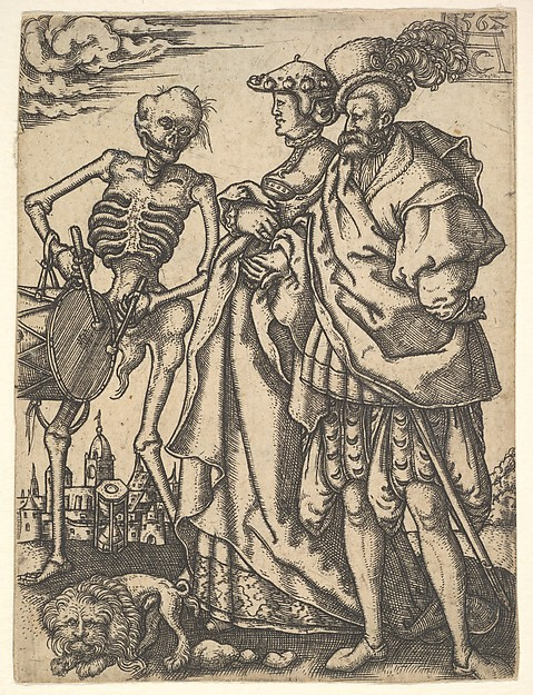 Couple and Death with a Drum, from The Dance of Death, Allaert Claesz. (Dutch, active 1520–55), Engraving