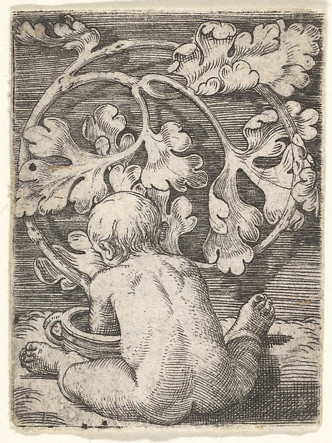 Naked Child Seen from Back Seated in Front of a Vessel, Barthel Beham (German, Nuremberg ca. 1502–1540 Italy), Engraving