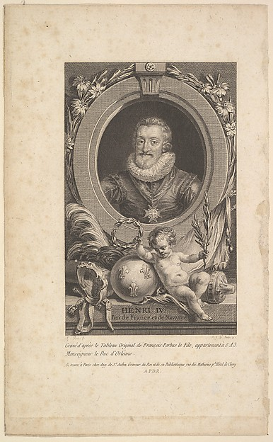 Portrait of Henri IV, Augustin de Saint-Aubin (French, Paris 1736–1807 Paris), Etching and engraving; between fourth and fifth state of five (Bocher)