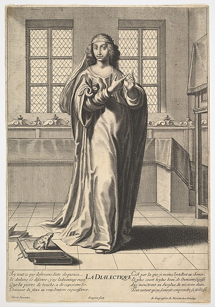 Dialectic: a young woman standing in a decorated interior and touching her right index finger to her left middle finger in a counting gesture, at her feet is a toad seated on a stack of books, from the series 'The liberal arts' (Les arts liberaux), Gilles Rousselet (French, Paris 1614–1686 Paris), Engraving