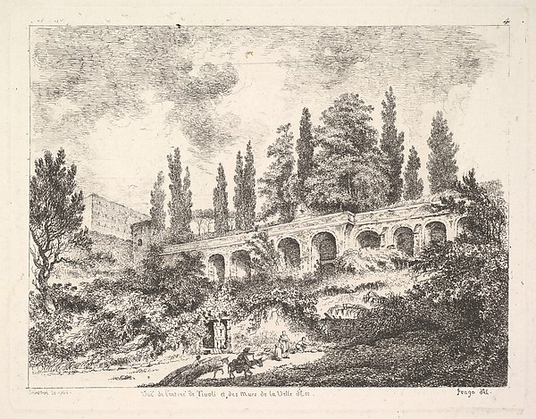 View of the entrance to Tivoli and the walls of the Villa d'Este, horsemen approaching the entrance at bottom center, arched entrance in the middleground, cyrus trees and other plants surrounding, Jean Claude Richard, Abbé de Saint-Non (French, Paris 1727–1791 Paris), Etching