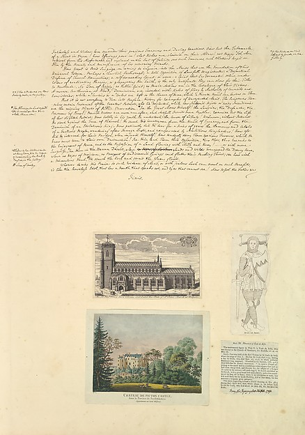 Leaf from Aedes Walpolinae mounted with a hand-written sheet, two prints and a printed sheet with drawn additions: (a): Sermon on Painting, continued; (b): St. Peter's Church at Walpole; (c): Chateau de Picton; (d): Monument of Eudo de Arsie; (e) Printed text describing Monument of Eudo de Arsie, Horace Walpole, 4th Earl of Orford (British, London 1717–1797 London), (a): pen and sepia ink; (b): engraving; (c): etching hand-colored; (d) printed text with image
