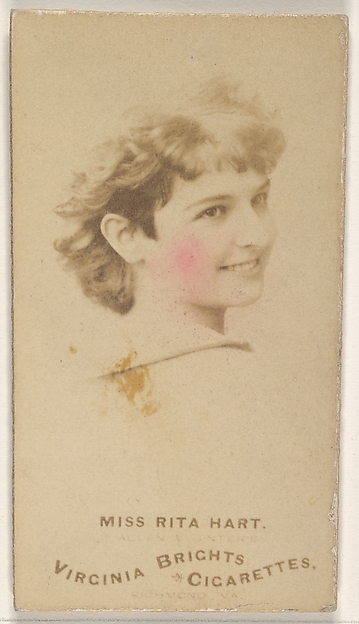 Miss Rita Hart, from the Actors and Actresses series (N45, Type 1) for Virginia Brights Cigarettes, Issued by Allen & Ginter (American, Richmond, Virginia), Albumen photograph