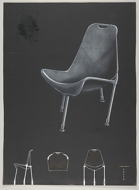 Design for a Fiberglass Reinforced Plastic Chair, for 'There's a Science to Seating' in the Journal 'Modern Plastics', Robert Gruen (American, 1913–1999), graphite, white pencil and white gouache