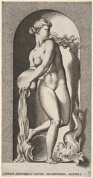 Plate 6: Thetis standing in a niche with a shell and sea creature, pouring water out of a vase, looking to her left, from a series of mythological gods and goddesses, Giovanni Jacopo Caraglio (Italian, Parma or Verona ca. 1500/1505–1565 Krakow (?)), Engraving