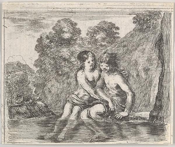 Salmacis and Hermaphrodite, from 'Game of Mythology' (Jeu de la Mythologie), Stefano della Bella (Italian, Florence 1610–1664 Florence), Etching