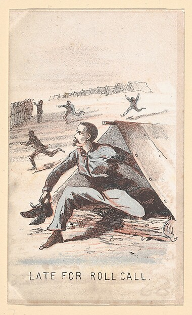Life in Camp, Part 1: Late for Roll Call, Winslow Homer (American, Boston, Massachusetts 1836–1910 Prouts Neck, Maine), Color lithograph