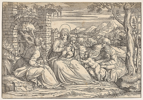 The Holy Family with saints Elizabeth and John, Attributed to Nicolò Boldrini (Italian, Vicenza ca. 1500–after 1566 Venice), Woodcut