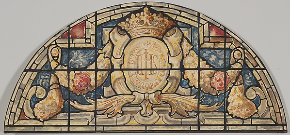 Design For The Arched Top Of A Stained Glass Window Decorated With Renaissance Ornament Designed