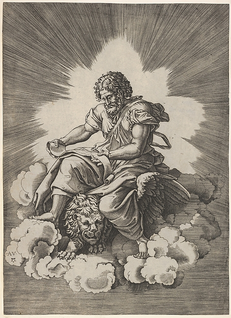 St. Mark, seated with an unfurled scroll in his hands, a winged lion's head and forefeet emerge beneath his robes, from a series of the four evangelists after Agostino Veneziano, which are in turn after Giulio Romano, Anonymous, Italian, 16th century, Engraving