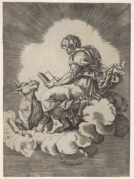 St. Luke, seated on a cloud with an open book in both hands, a bull lying at his feet, from a series of the four evangelists after Agostino Veneziano, which are in turn after Giulio Romano, Anonymous, Italian, 16th century, Engraving