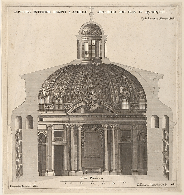 Cross-section of the church of Sant'Andrea al Quirinale, Rome, showing lantern, cupola, and altar, Giovanni Francesco Venturini (Italian, active ca. 1650–1700), Engraving