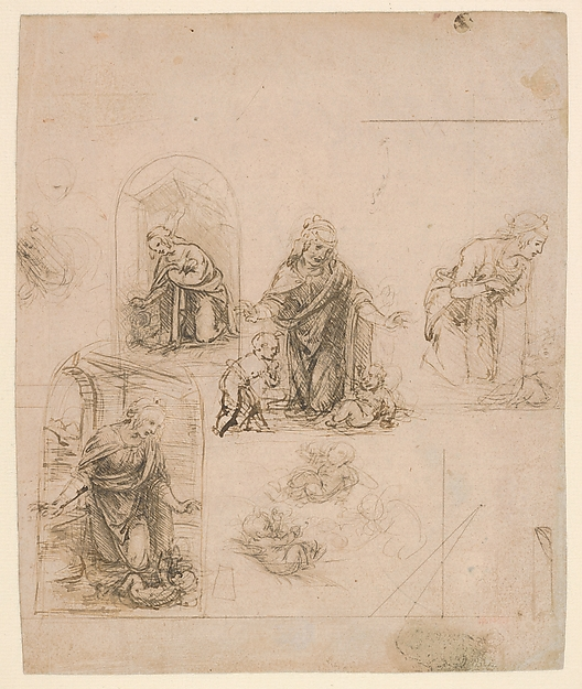 Compositional Sketches for the Virgin Adoring the Christ Child, with and without the Infant St. John the Baptist; Diagram of a Perspectival Projection (recto); Slight Doodles (verso), Leonardo da Vinci (Italian, Vinci 1452–1519 Amboise), Silverpoint, partly reworked by the artist with pen and dark brown ink on pink prepared paper; lines ruled with metalpoint (recto); pen and brown ink (verso)