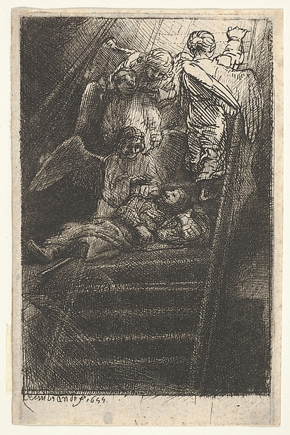 Jacob's Ladder, Rembrandt (Rembrandt van Rijn) (Dutch, Leiden 1606–1669 Amsterdam), Etching, engraving and dry point; second of four states