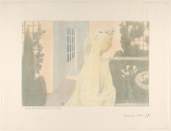 La vie devient précieuse, discrète, from the album Amour, Maurice Denis (French, Granville 1870–1943 Saint-Germain-en-Laye), Color lithograph
