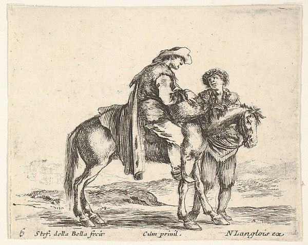 Plate 6: a peasant on horseback in profile facing the right, holding a basket and talking to another man standing behind the horse, from 'Diversi capricci', Stefano della Bella (Italian, Florence 1610–1664 Florence), Etching; third state of four (De Vesme)