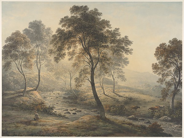 Early Morning near Loch Katrine in the Trossachs, Scotland, John Glover (British, Houghton-on-the-Hill, Leicester 1767–1849 Launceston, Tasmania), Watercolor over graphite, with gum arabic