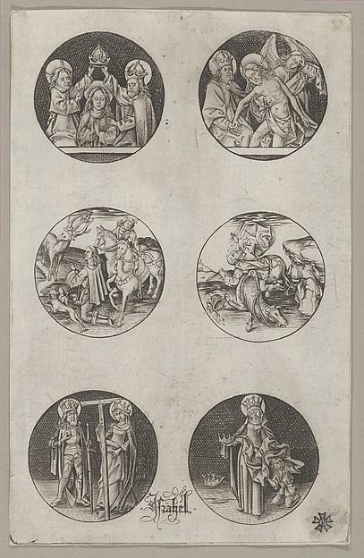 Six Roundel Patterns for a Goldsmith: the Coronation of the Virgin, God the Father with the Body of Christ, St. Eustace or St. Hubert, the Conversion of St. Paul, Charlemagne and St. Helen, and St. Elizabeth, Israhel van Meckenem (German, Meckenem ca. 1440/45–1503 Bocholt), Engraving; first state of two