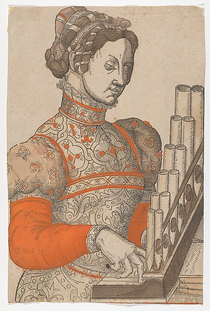 Woman Playing a Portative Organ, Anonymous, French, 16th century, Woodcut with pochoir in orange, two shades of brown and beige