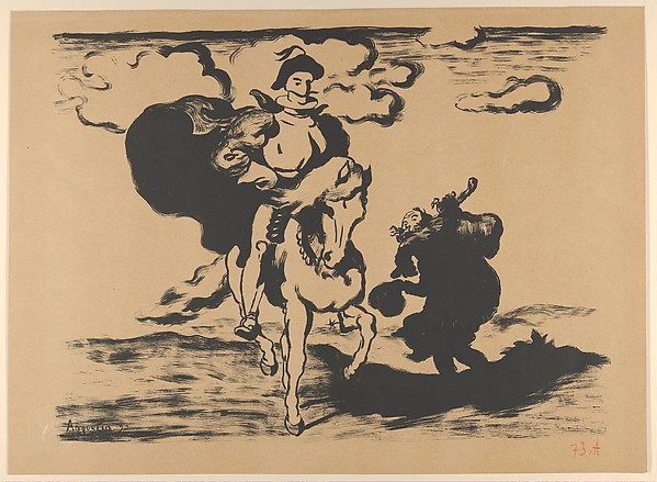 The Horseman and the Beggar, also called Don Quixote and Sancho Panza (Le Cavalier et le mendiant), Louis Anquetin (French, Etrépagny 1861–1932 Paris), Lithograph