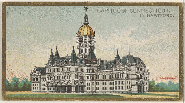 Capitol of Connecticut in Hartford, from the General Government and State Capitol Buildings series (N14) for Allen & Ginter Cigarettes Brands, Issued by Allen & Ginter (American, Richmond, Virginia), Commercial color lithograph