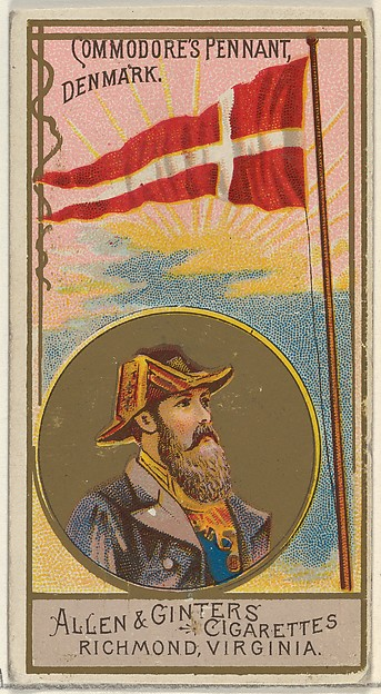 Commodore's Pennant, Denmark, from the Naval Flags series (N17) for Allen & Ginter Cigarettes Brands, Allen & Ginter (American, Richmond, Virginia), Commercial color lithograph
