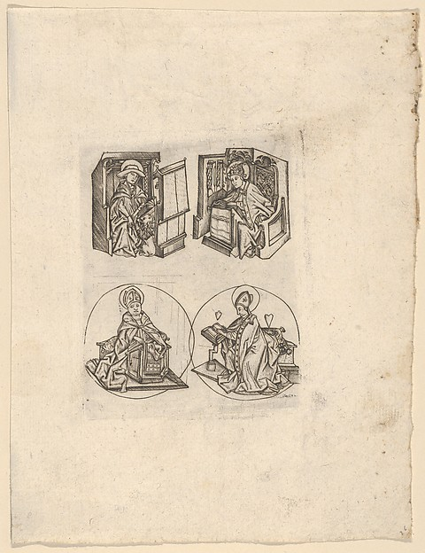 The Four Fathers of the Church, Israhel van Meckenem (German, Meckenem ca. 1440/45–1503 Bocholt), Engraving