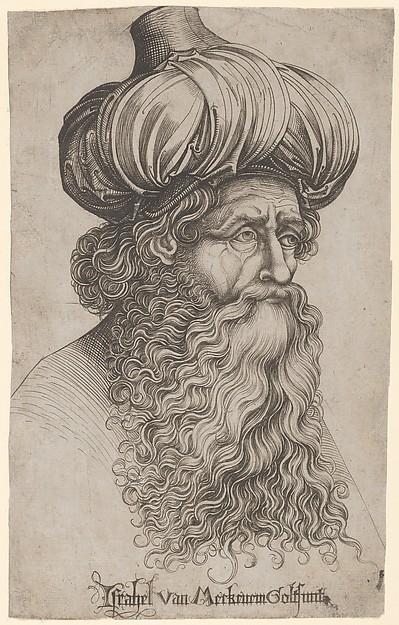 Head of an Elderly Man with a Long Beard and Turban, Israhel van Meckenem (German, Meckenem ca. 1440/45–1503 Bocholt), Engraving